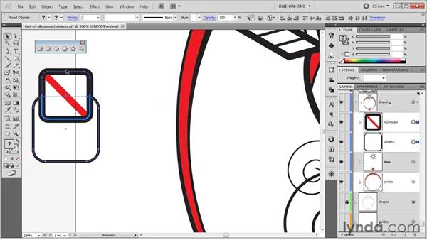 Aligning to a key object: Illustrator CS5 One-on-One: Fundamentals