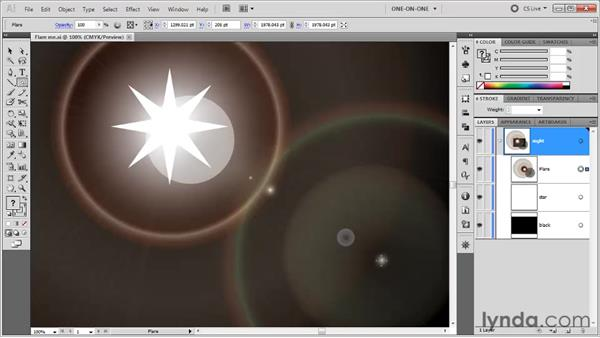 Using the Flare tool: Illustrator CS5 One-on-One: Fundamentals