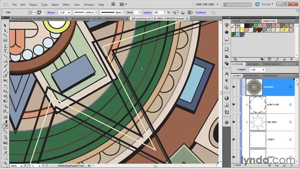Assigning a swatch with the Eyedropper: Illustrator CS5 One-on-One: Fundamentals