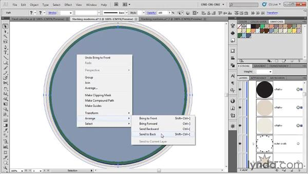 Adjusting the stacking order: Illustrator CS5 One-on-One: Fundamentals