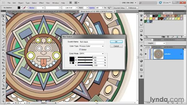 Trapping colors with rich blacks: Illustrator CS5 One-on-One: Fundamentals