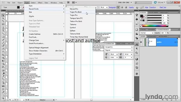 Tips for previewing and assigning fonts: Illustrator CS5 One-on-One: Fundamentals