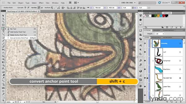 Using the Convert Point tool: Illustrator CS5 One-on-One: Fundamentals