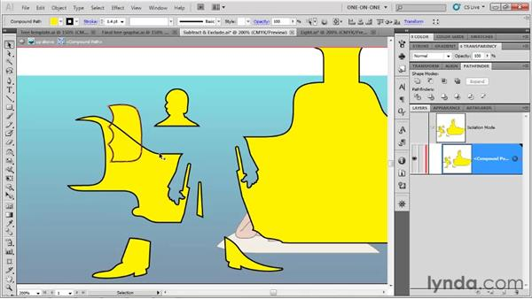 Comparing compound shapes with compound paths: Illustrator CS5 One-on-One: Fundamentals