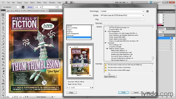 Warnings and document raster: Illustrator CS5 One-on-One: Fundamentals
