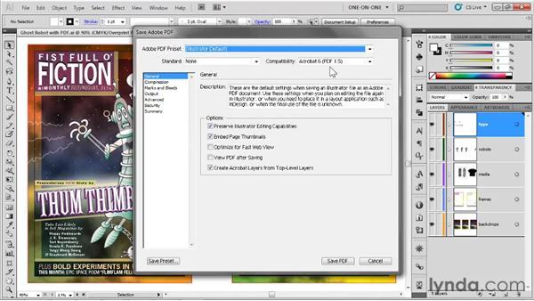 Saving a PDF file with printer marks: Illustrator CS5 One-on-One: Fundamentals