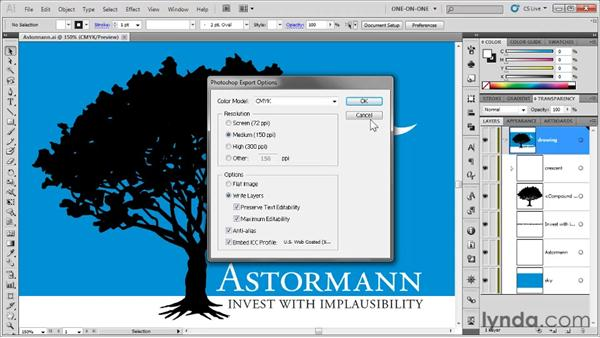 Exporting to Photoshop layers: Illustrator CS5 One-on-One: Fundamentals