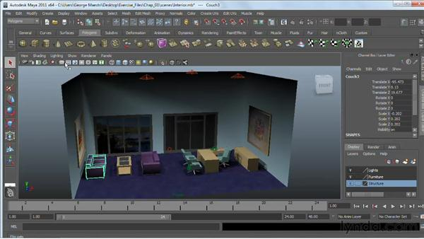 Reviewing the Viewport menus: Maya 2011 Essential Training