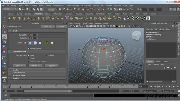 Selecting polygonal components : Maya 2011 Essential Training