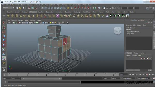 Using the Extrude tool : Maya 2011 Essential Training