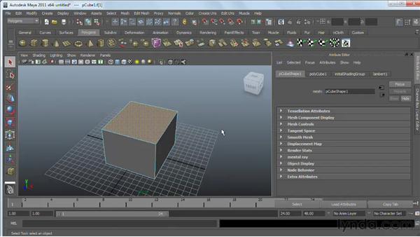Using the Polygon Bevel tool : Maya 2011 Essential Training