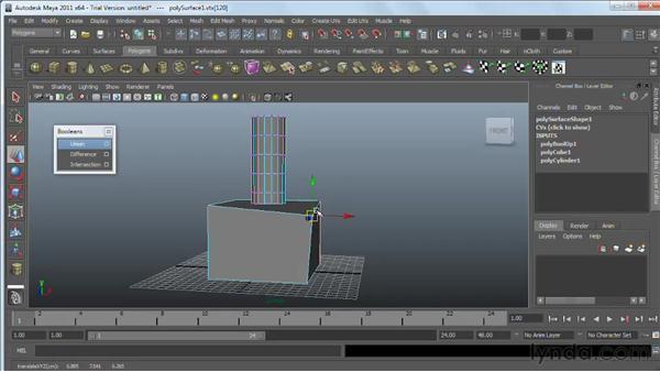 Working with polygon booleans : Maya 2011 Essential Training