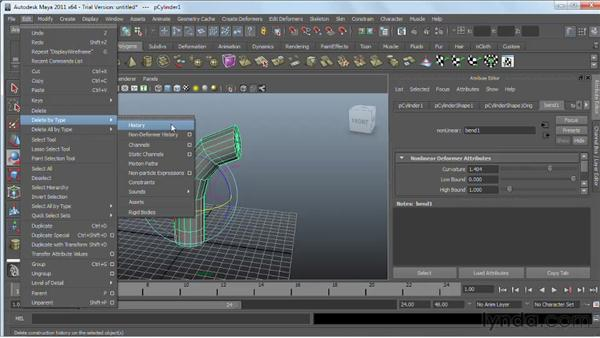 Modeling with nonlinear deformers : Maya 2011 Essential Training