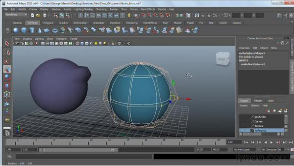 Introducing NURBS modeling: Maya 2011 Essential Training