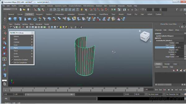 NURBS primitives: Maya 2011 Essential Training