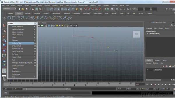 Using the NURBS curve tools: Maya 2011 Essential Training
