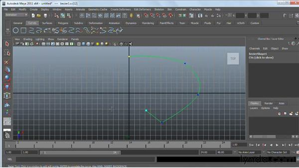 Creating Bézier curves: Maya 2011 Essential Training