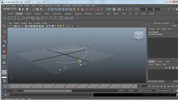 Manipulating NURBS curves: Maya 2011 Essential Training