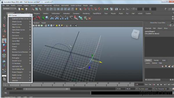 Refining NURBS curves: Maya 2011 Essential Training