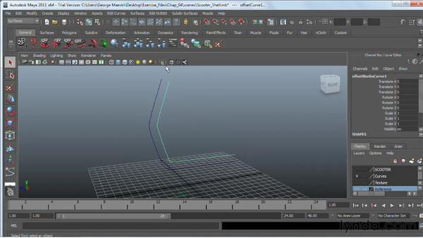 Offsetting NURBS curves: Maya 2011 Essential Training