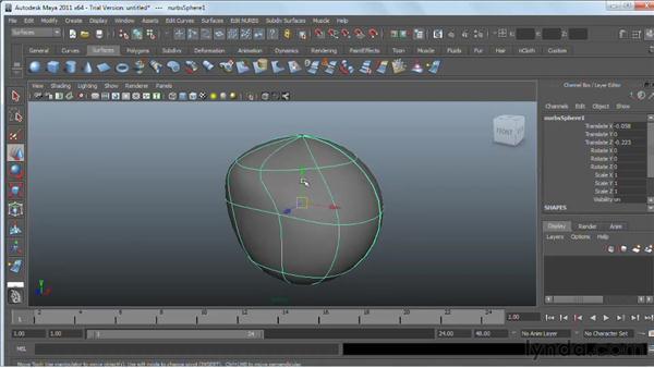 Editing NURBS surfaces: Maya 2011 Essential Training