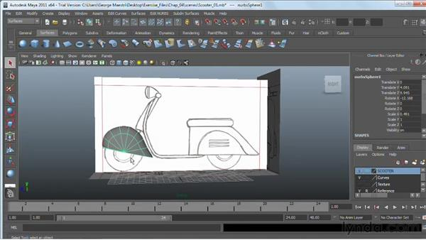 Refining NURBS surfaces: Maya 2011 Essential Training