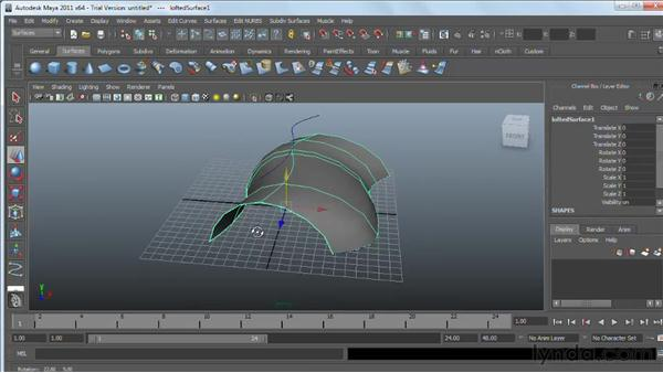 Using NURBS Loft: Maya 2011 Essential Training