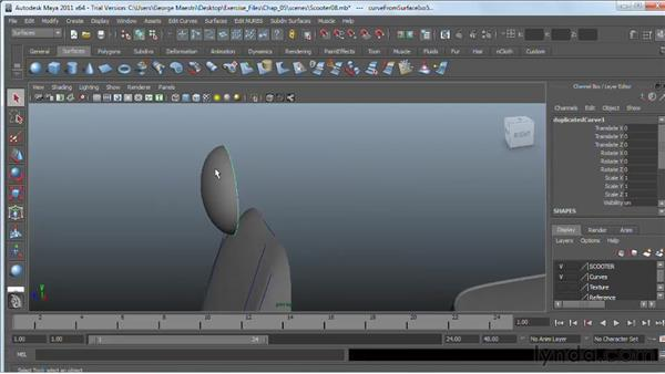 Extracting NURBS curves from surfaces : Maya 2011 Essential Training