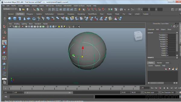 Creating curves on a surface : Maya 2011 Essential Training