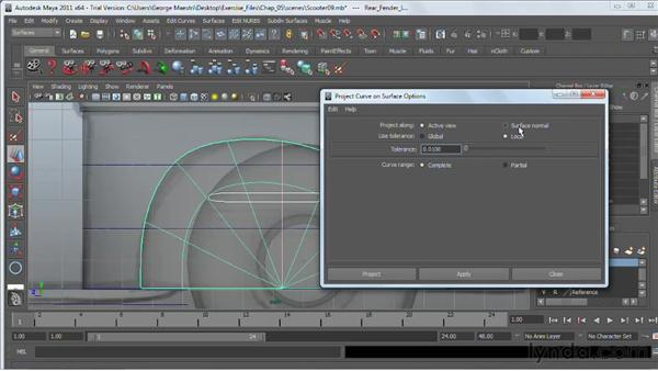 Projecting curves on surfaces : Maya 2011 Essential Training