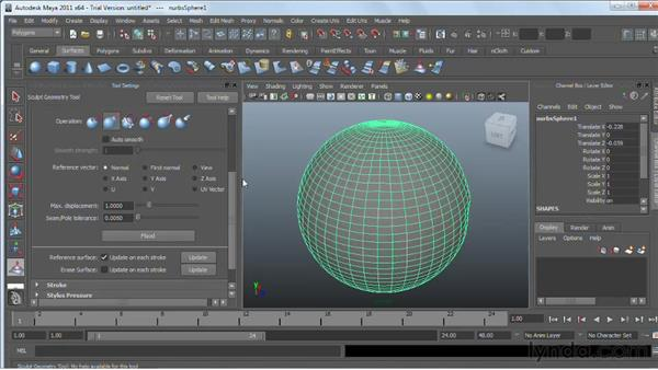 Sculpting NURBS and polygonal surfaces : Maya 2011 Essential Training