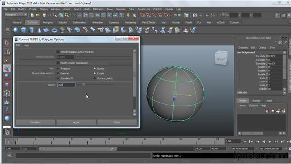 Converting NURBS to polygons : Maya 2011 Essential Training
