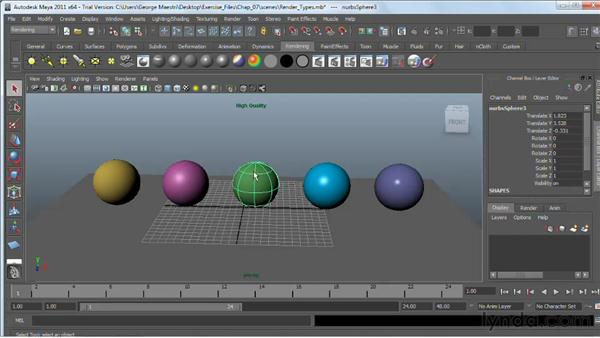 Understand the basics of materials : Maya 2011 Essential Training