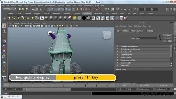 Texture-mapping polygonal surfaces : Maya 2011 Essential Training