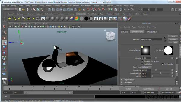 Lights and lighting types in Maya : Maya 2011 Essential Training