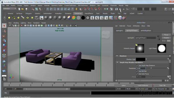 Adding depth-map shadows : Maya 2011 Essential Training