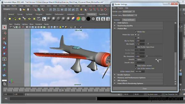 Using motion blur in Maya Software Renderer: Maya 2011 Essential Training