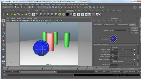 Raytracing reflections and refractions: Maya 2011 Essential Training