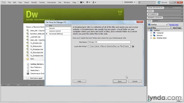 Using the exercise files: Managing CSS in Dreamweaver