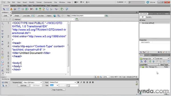 Building a style-focused workspace : Managing CSS in Dreamweaver