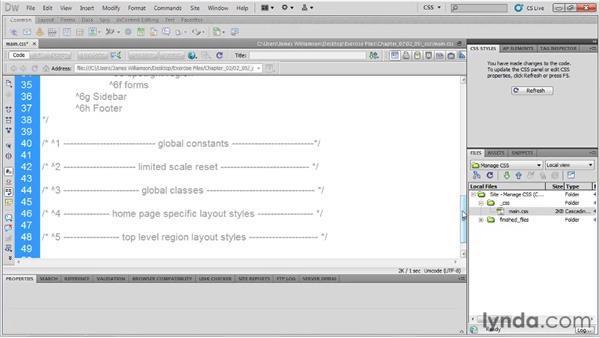 Creating sections for styles: Managing CSS in Dreamweaver