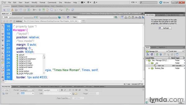 Organizing style properties: Managing CSS in Dreamweaver