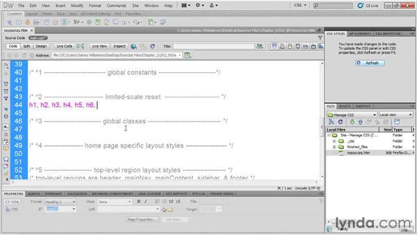 Writing a CSS reset: Managing CSS in Dreamweaver