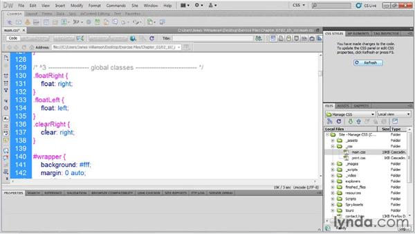 Writing global classes: Managing CSS in Dreamweaver