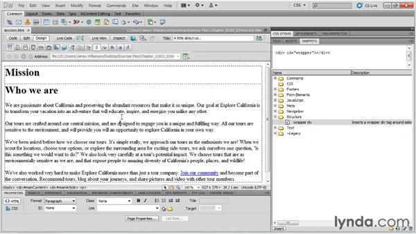 Working with code snippets: Managing CSS in Dreamweaver