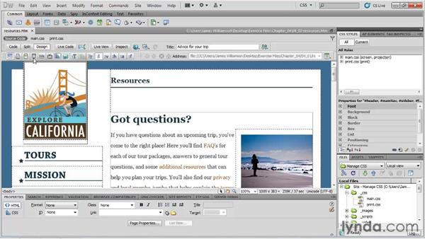 Writing a print style sheet: Managing CSS in Dreamweaver