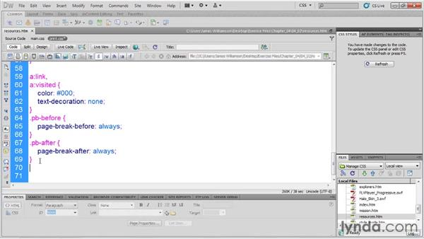 Creating print-specific styles: Managing CSS in Dreamweaver