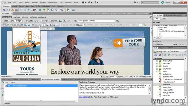 Checking browser compatibility: Managing CSS in Dreamweaver