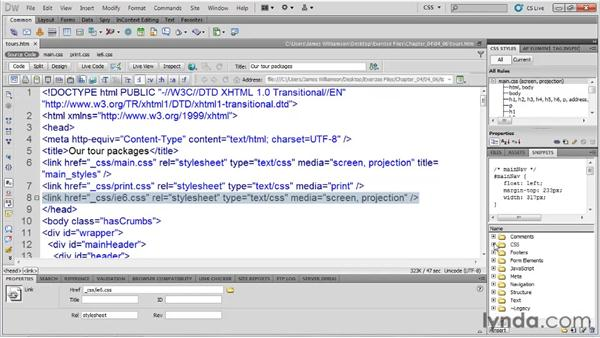 Using conditional comments for Internet Explorer: Managing CSS in Dreamweaver