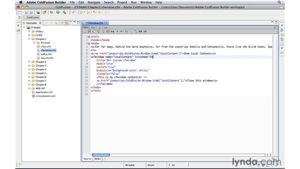 Using the cfwindow tag: ColdFusion 9: AJAX Controls and Techniques